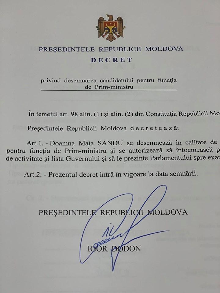 decret Maia Sandu