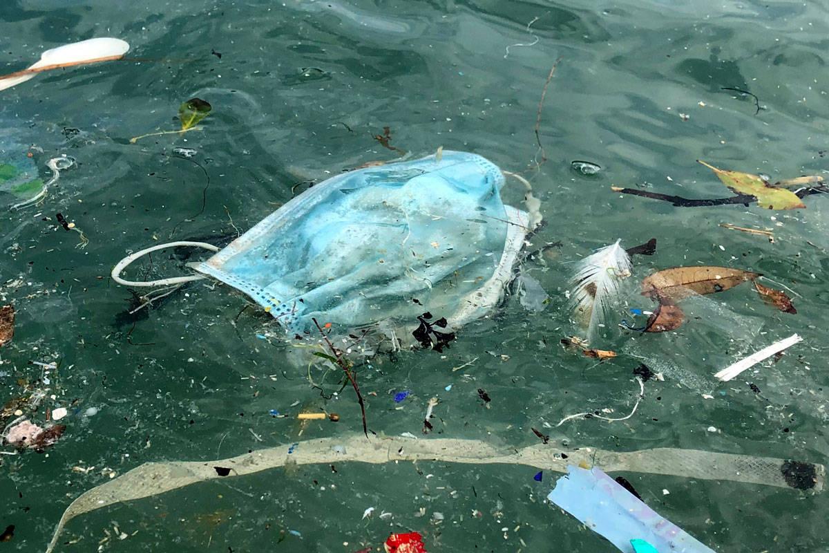 măști aruncate ocean plastic ecologie deșeuri